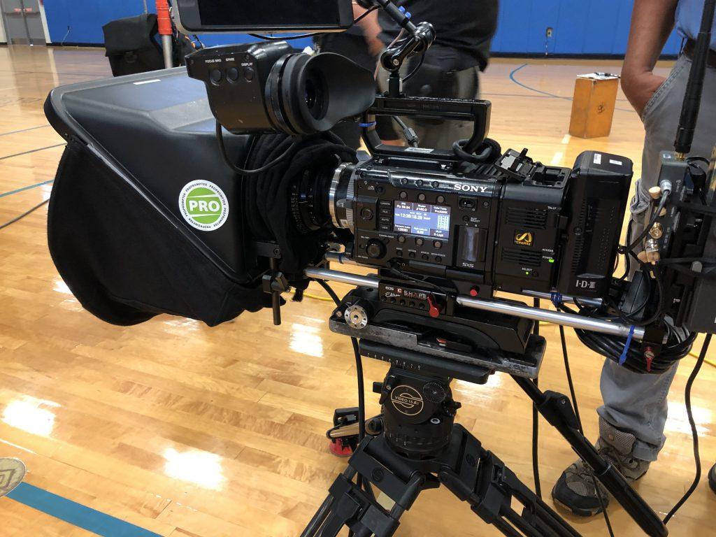 Camera setup on a basketball court