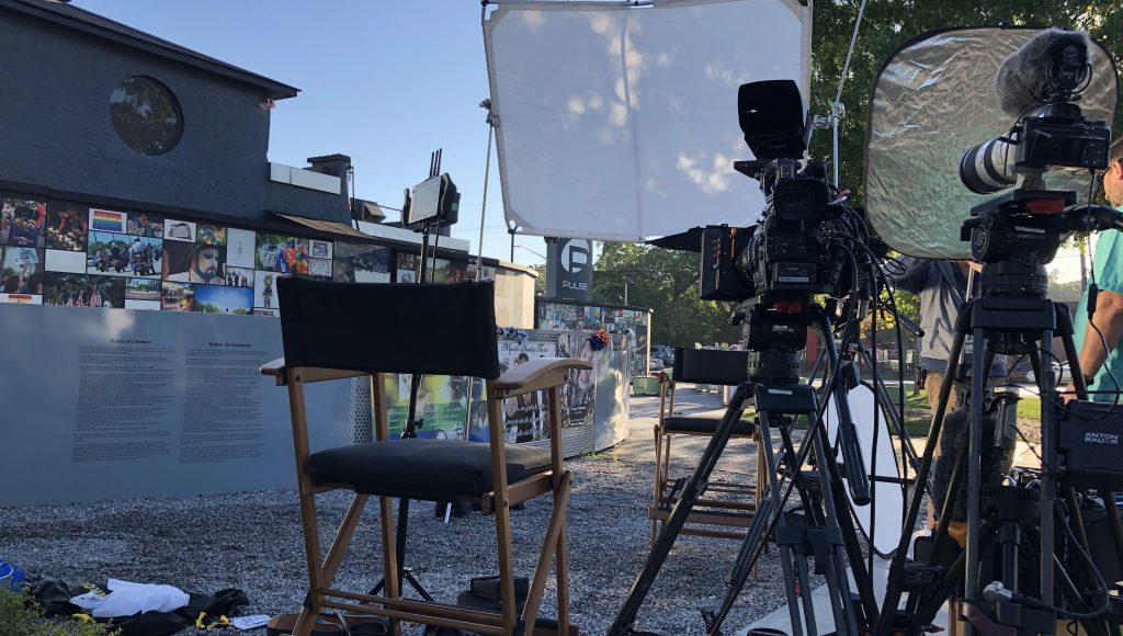 Camera equipment setup outside Pulse Orlando
