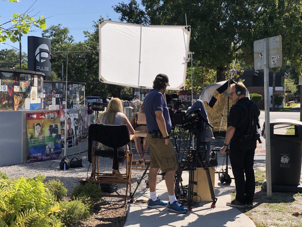 Preparing for a shoot outside Pulse Orlando