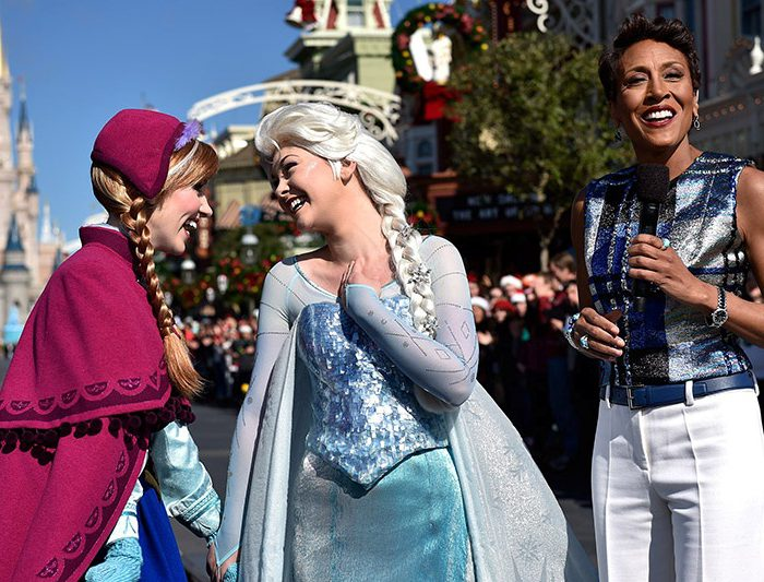 Anna and Elsa characters and Disney World